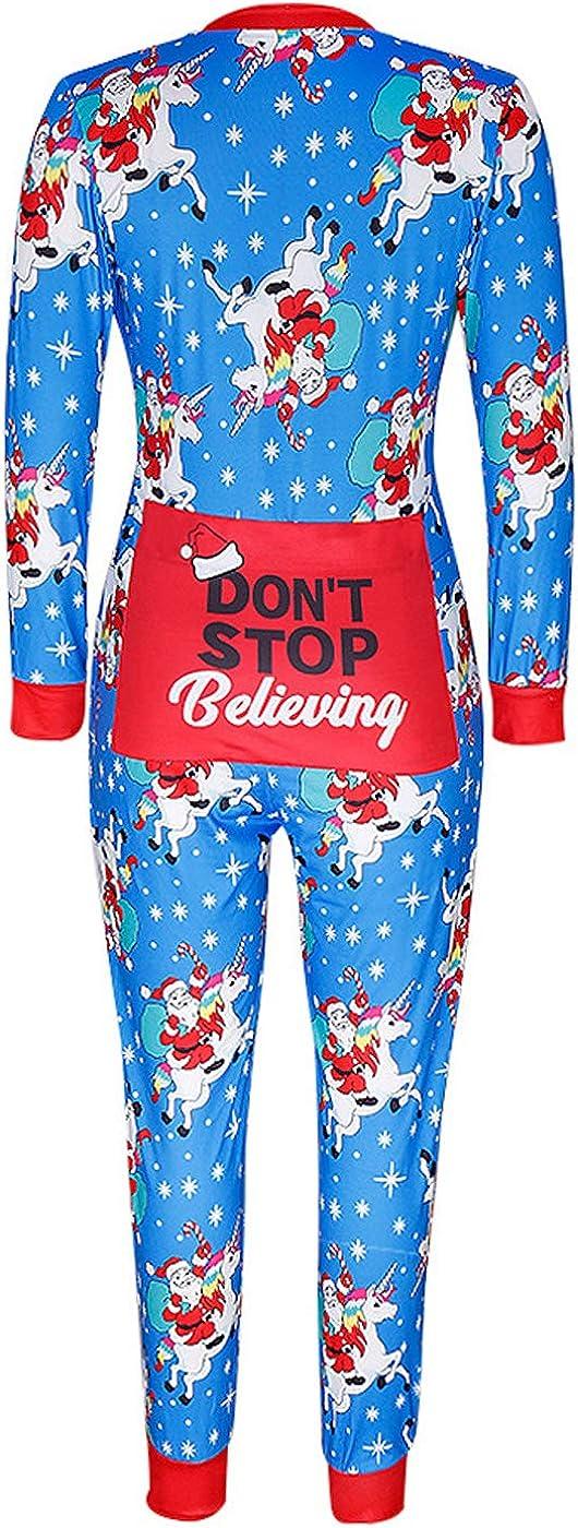 Womens Family Ugly One Piece Christmas Pajamas Adult Funny Print Onesie Sleepwear Jumpsuit Rompers
