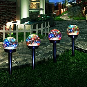 Solar Lights Outdoor-Solar LED Colour Changing Globe Powered Garden Light Waterproof for Yard Patio Walkway Landscape (4 Pack)