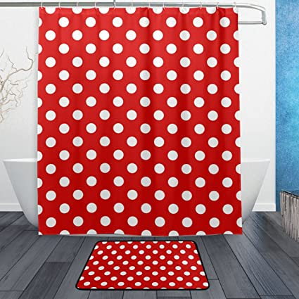 WOZO Red White Polka Dot Polyester Fabric Bathroom Shower Curtain 60 X 72 Inch With Hooks