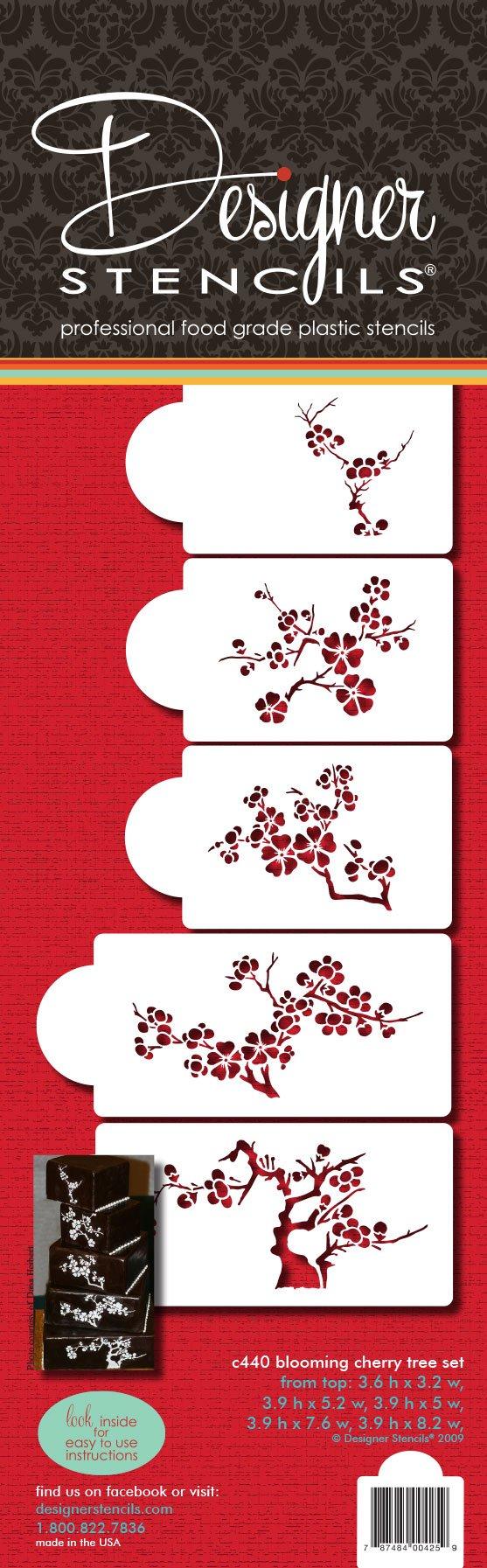 Designer Stencils C440 Blooming Cherry Tree Cake Stencil Set, Beige/semi-transparent by Designer Stencils (Image #4)