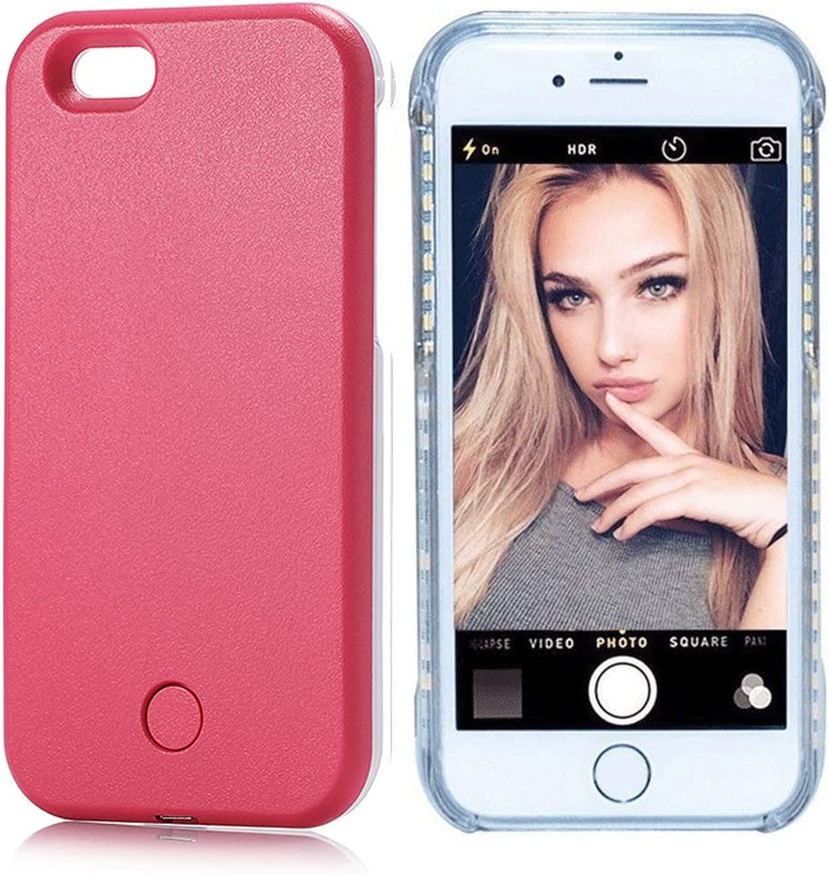 PHILIPOUS Compatible for iPhone X case, iPhone Xs Case, LED Illuminated Selfie Light, [Rechargeable] Cell Phone Cover Light up Phone case Flashlight Case(Rose Red, iPhone X/XS case)