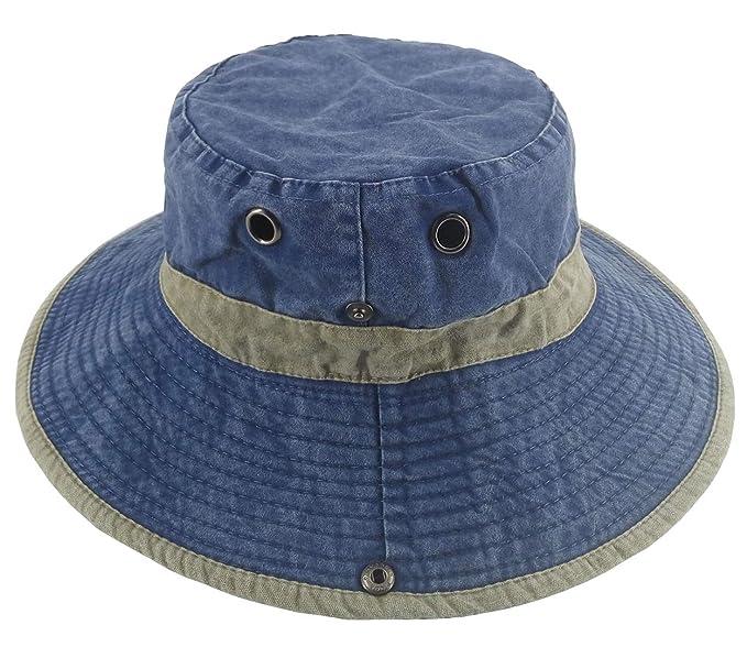95c3c6c2f Ledamon Men's Sun Hat Fisherman Hat UV Protection Outdoor Hiking Fishing Washed  Cotton Hat (Blue