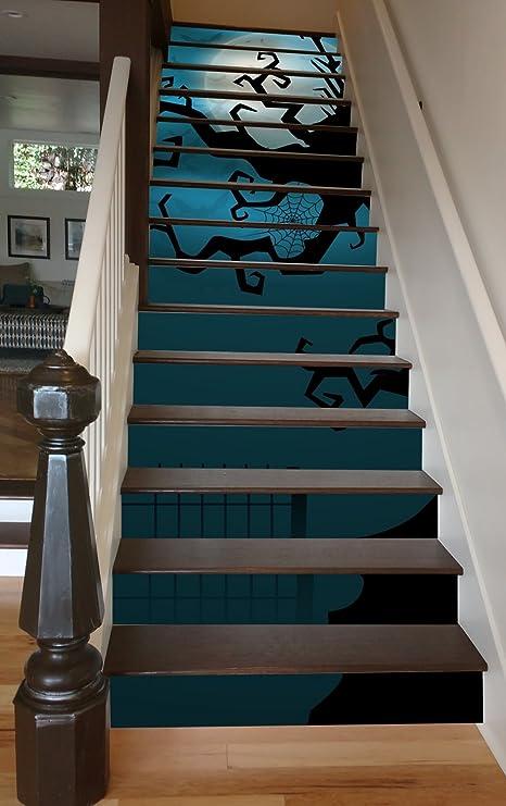 Torcido Árbol pintado escalera escalón paneles fácil de instalar y extraíble Vinilo Adhesivo para decoración de Halloween, 102 cm: Amazon.es: Hogar