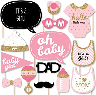 product image for Big Dot of Happiness Hello Little One - Pink and Gold - Girl Baby Shower Photo Booth Props Kit - 20 Count