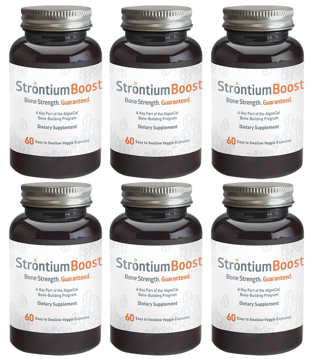 Natural Strontium Citrate Supplement - Strontium Boost (60 Capsules) - All-Natural Ingredients & Scientifically Proven To Support Bone Density Improvement - Easy To Swallow Veggie Capsules (6 Bottles)