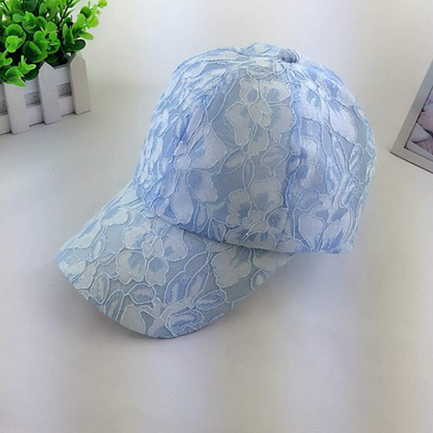 Lace Pattern Pure Color Breathable Women Girl Mesh Baseball Caps Hip Hop Cap Adjustable Summer Hat