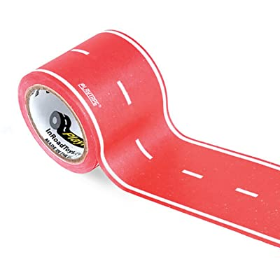 PlayTape Red Road - Road Car Tape Great for Kids, Sticker Roll for Cars Track and Train Sets, Stick to Floors and Walls, Quick Cleanup, Children Toys Birthday Gift (30'x2 - Single Roll, Red): Toys & Games