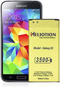 Galaxy S5 Battery,Heliotion 3500mAh Upgraded High Capacity【New 0 Cycle】 Replacement Battery for Samsung Galaxy S5 G900A G900P G900V G900T G900F G900H G900R4 I9600 Extended Capacity Battery