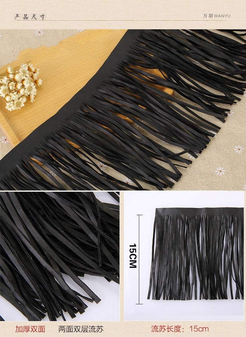 Handbag Skirt Garment Bag Handmade DIY Accessories-DIY Leather Tassel Fringe Trim for Craft Decoration 1 Yards 6In Wide Black Suede Leather Tassel Fringe Trim,Leather Fringe Tassel for Craft Keychain