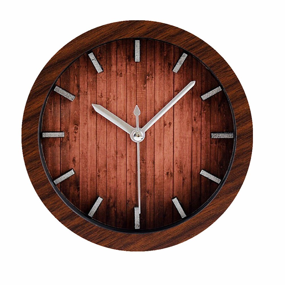 Retro Europe Style Wood Pattern Silent Non-ticking Desk Wall Clock Vintage Alarm Clocks Table Desk Clocks Desktop Clock Brown Usany