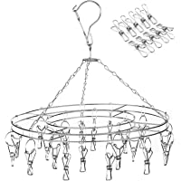 Amagoing Hanging Drying Rack Laundry Drip Hanger with 20 Clips and 10 Replacement for Drying Socks, Baby Clothes, Bras…