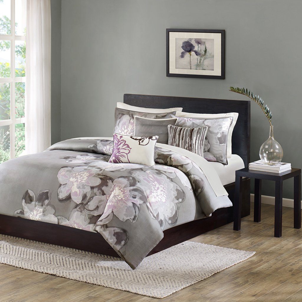 Madison Park Serena Duvet Cover Queen Size - Grey, Floral Duvet Cover Set - 6 Piece - Sateen Cotton Light Weight Bed Comforter Covers by Madison Park