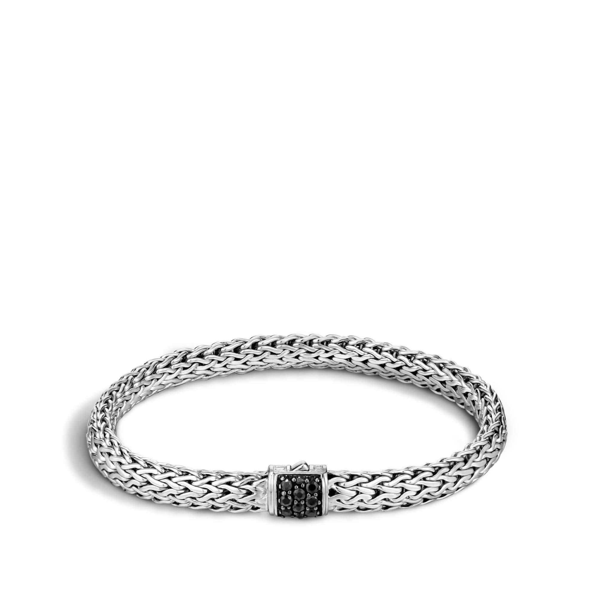 John Hardy Women's Classic Chain Silver Lava Small Bracelet with Black Sapphire, Size M