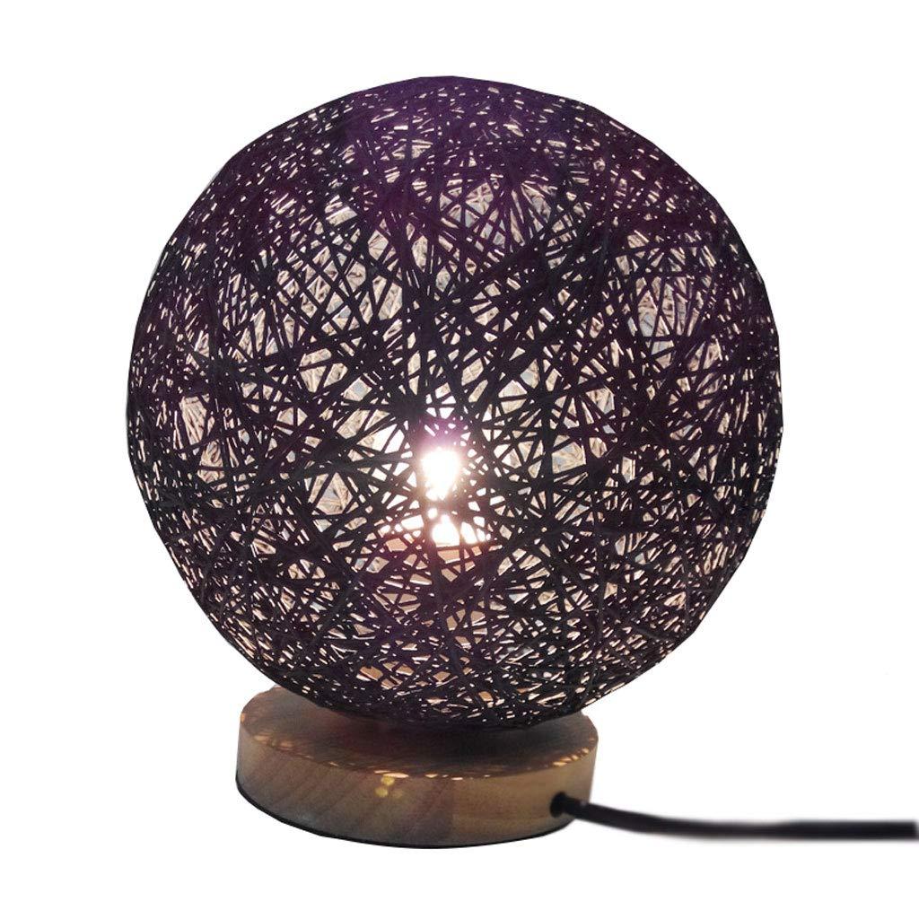 Moderne Einfache Hölzerne Nacht Lampe-Wohnzimmer Dekoration Rattan Hanf Ball Lampe Studie Schreibtisch Lampe (mit Keine Lichtquelle) (Farbe   SCHWARZ-M)