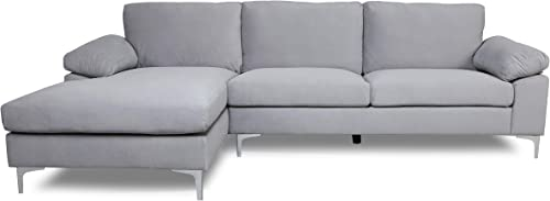 Gray Sectional Sofa W/Lounger Chaise,JULYFOX Overstuffed Left Hand 3 Seater Velvet Fabric Couch L-Shaped Extra Wide Pillow Armrest 42.5