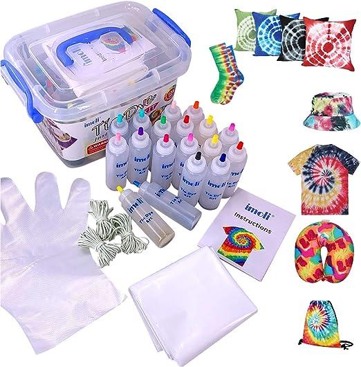 imoli Tie Dye Kit - 18 Colores Vibrantes Pinturas Textiles de Tela, Juego de Tinte Permanente de un Solo Paso, Ideal para la Moda de Bricolaje(Cubierta de Superficie Reutilizable incluida): Amazon.es: Juguetes