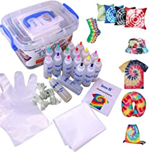imoli Tie Dye Kit - 18 colores vibrantes Pinturas textiles de tela, Juego de tinte permanente de un solo paso, Ideal para la moda de bricolaje(cubierta de superficie reutilizable incluida)