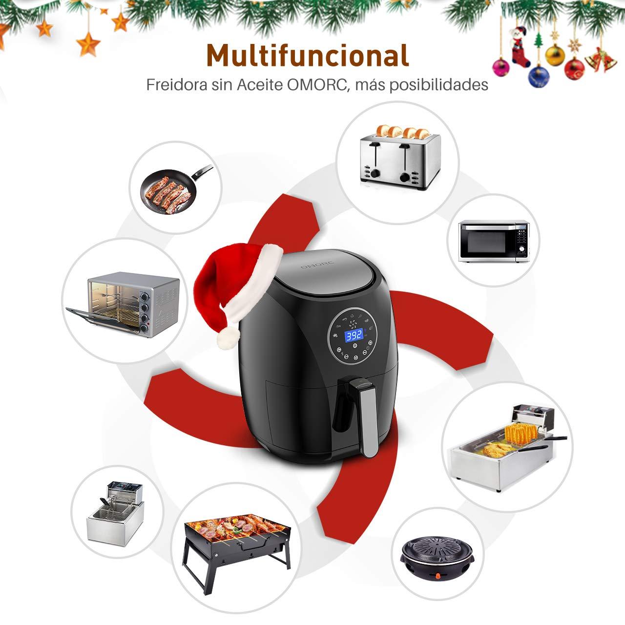 OMORC Freidora sin Aceite 3.5L, 7 Modos de Cocción, Freidora de Aire Apagado Automático, Libre de BPA, Material de Grado Alimenticio,Cesta de Limpieza Fácil ...
