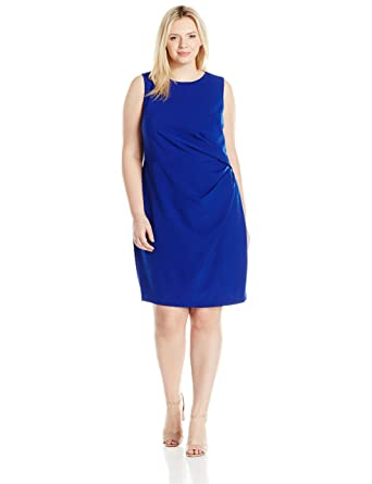 e4ac50c40dd Adrianna Papell Women s Plus Size Womans Tucked Detail Stretch Crepe Sheath  at Amazon Women s Clothing store