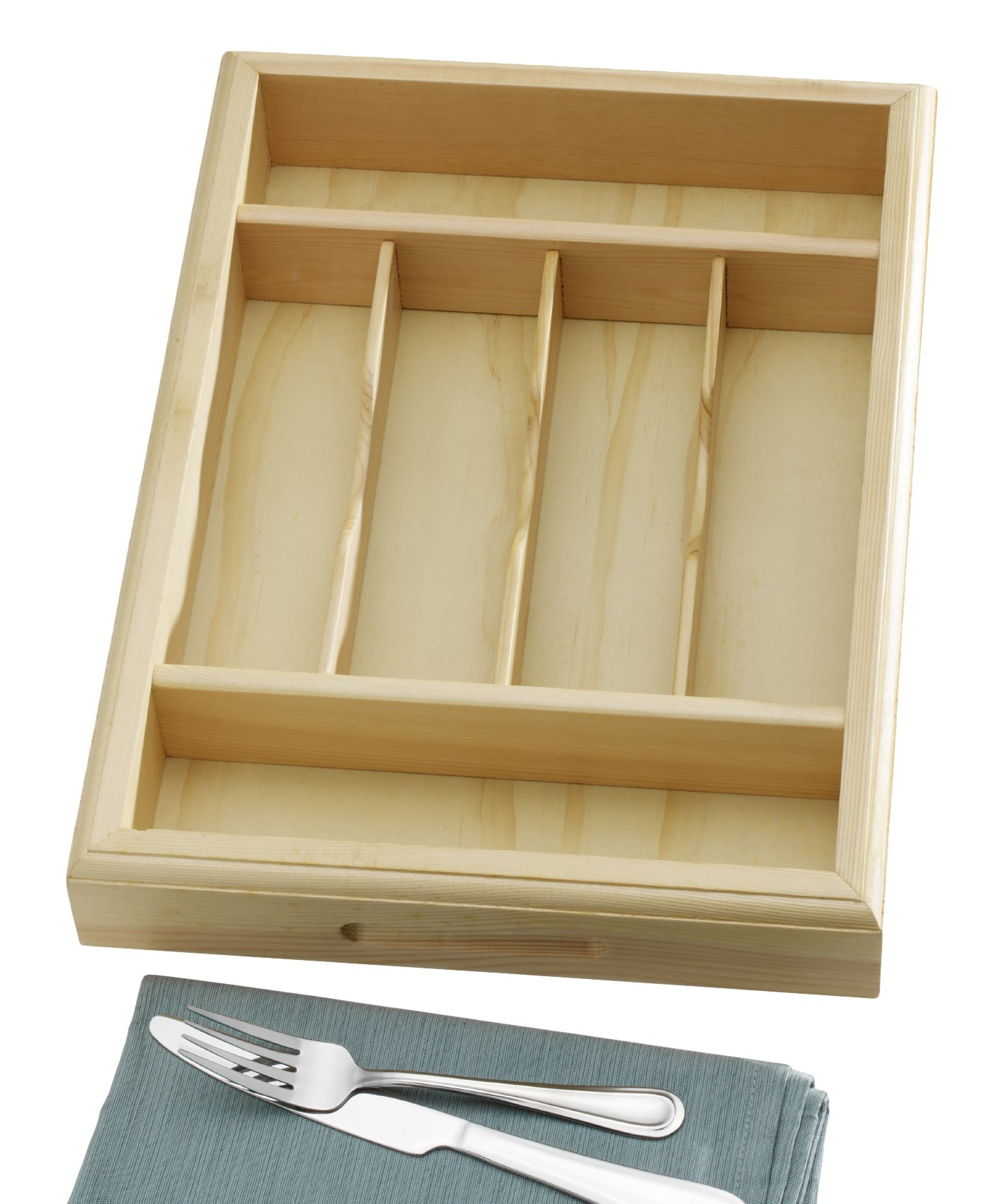 Towle Living 5183786 6 Slot Natural Deluxe Wood Caddy, Brown