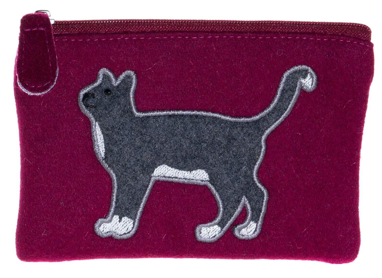 borsa in feltro commercio equo e solidale Portafoglio con motivo a gatto
