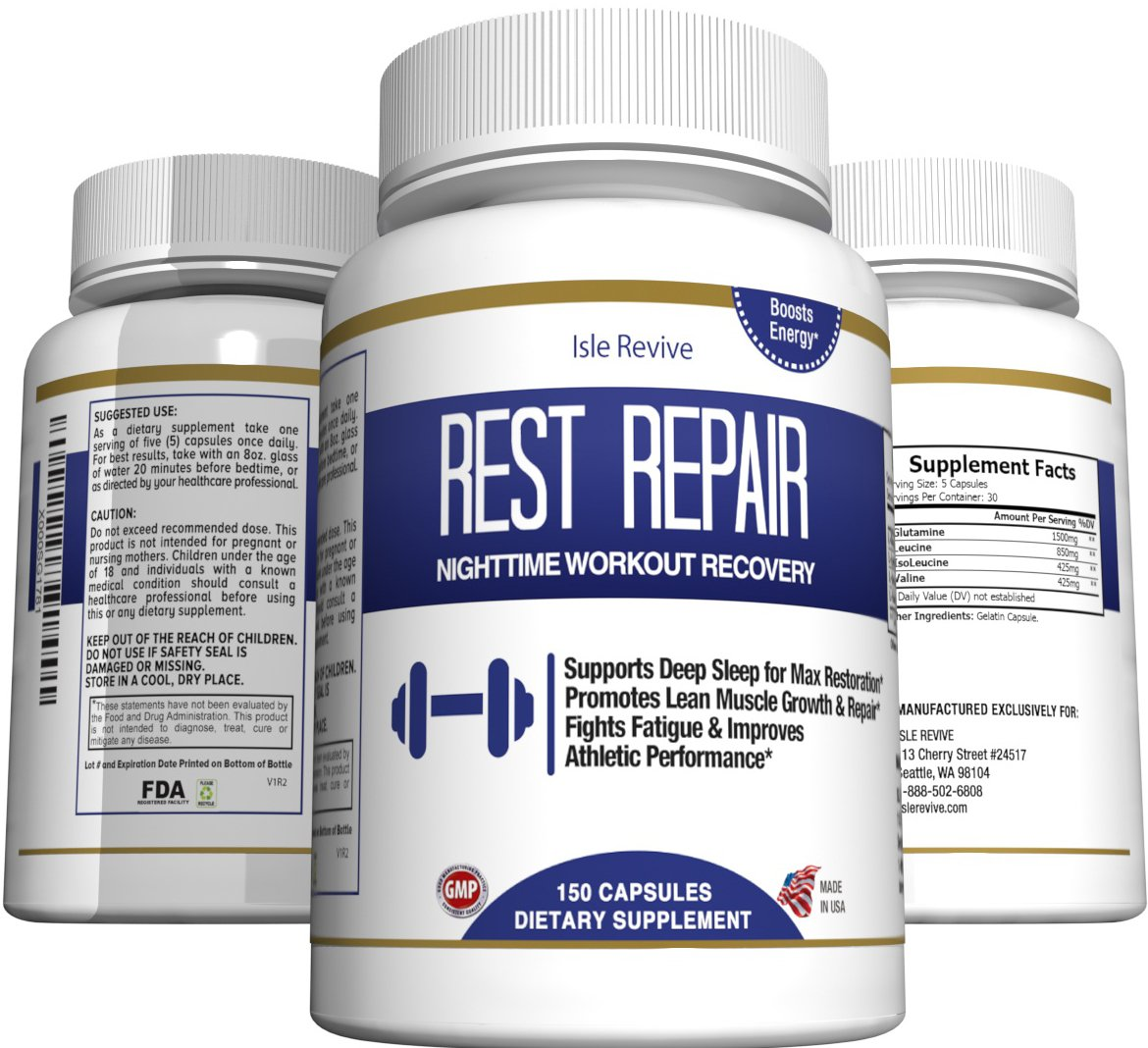 Glutamine BCAA Capsules, Post Workout Muscle Recovery and Sleep Supplement, A Blend of L-Glutamine and Amino Acids, All Natural Pills for Men and Women (150 Capsules, 30 Day Supply) - Rest Repair