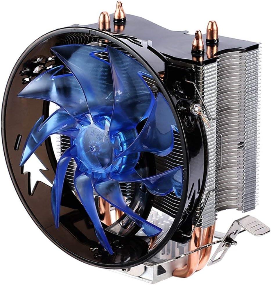 Enfriador de CPU Rojo y Azul Radiador de Cobre de Doble Tubo de Cobre Ventilador de CPU de Torre de lat/ón para Intel 775//1155//1156//1151//1150//1366 AMD JohnJohnsen