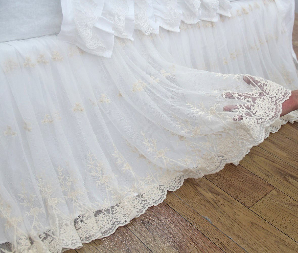 Victorian Lace Bed Skirts White Luxury Bedskirt Dust Ruffle