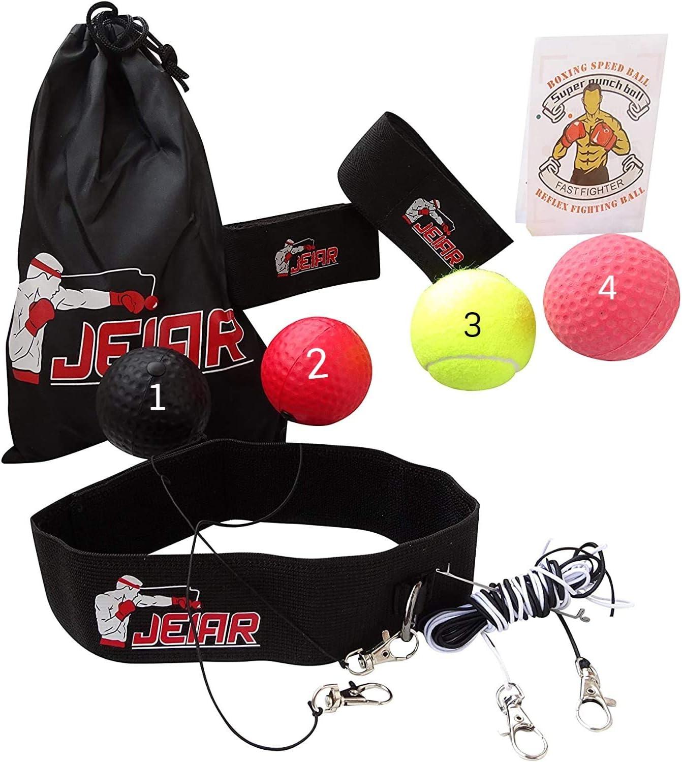 Set Profesional - 4 x Pelota de Boxeo para Cabeza con Diadema y Banda Elástica - Boxing Reflex/Reflejo - Punching Ball - Entrenamiento en casa