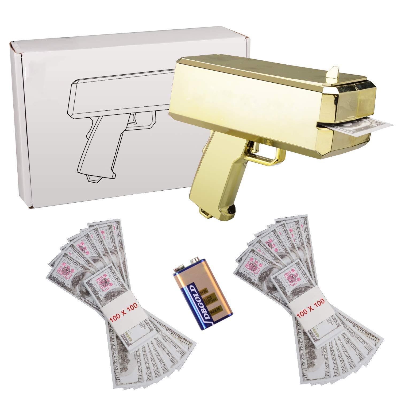 ANMEI1 Make It Rain Gold Money Gun Spray Money Gun Play Money Cash Gun Prop Money Gun Party Supplies by ANMEI1