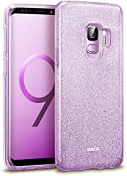 "ESR Case for Samsung Galaxy S9, Glitter Sparkle Bling Case Protective Cover [Three Layer] [Supports Wireless Charging] for Samsung Galaxy S9 5.8"" 2018 Released,Purple"