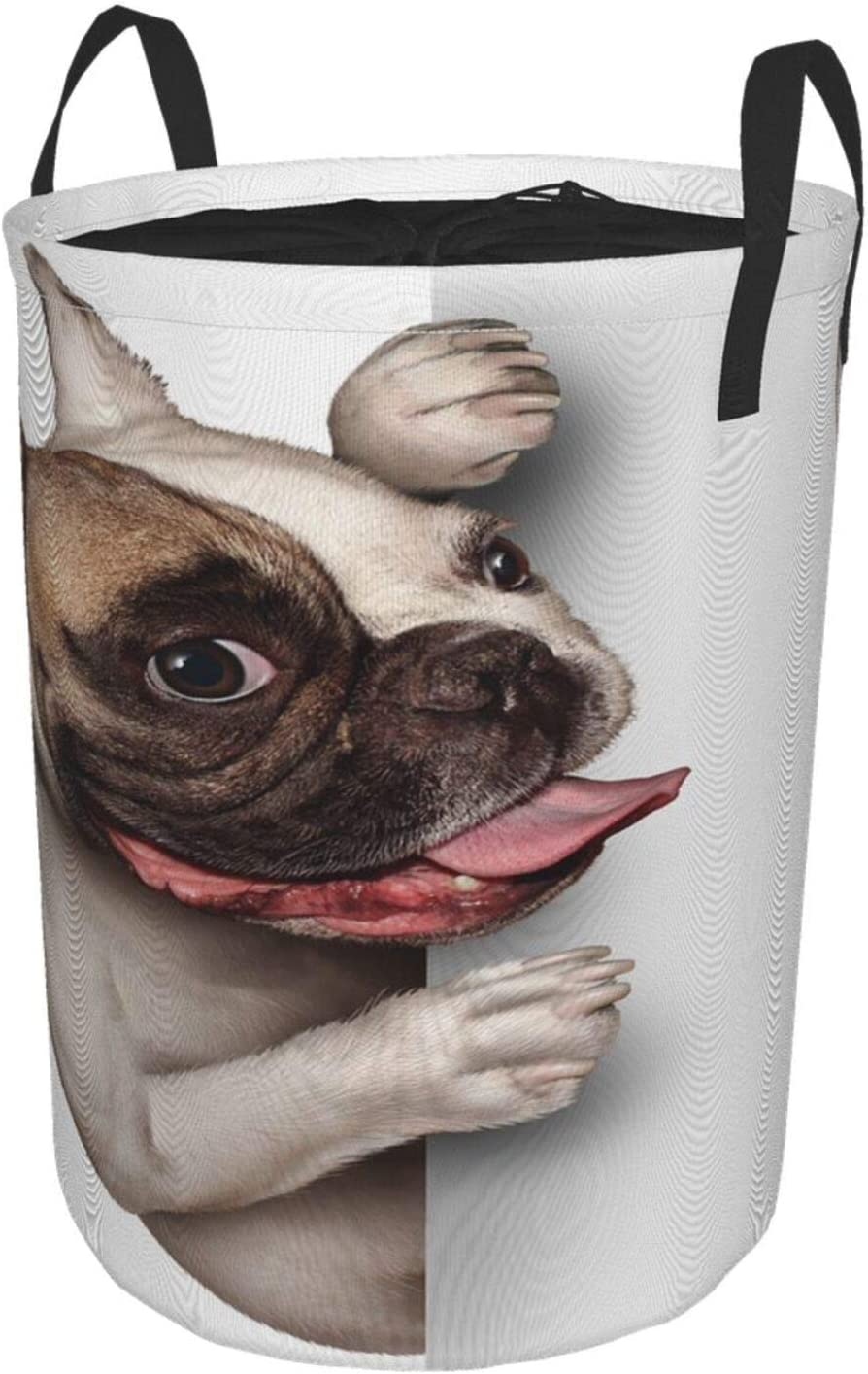 "Janrely Large Storage Baskets,A French Bulldog with A Smiling Happy Expression,Drawstring Waterproof Round Collapsible Laundry Hamper for Dirty Clothes Toy Home Office 21.6""X16.5"""