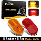 Partsam 5 Amber + 5 Red surface Mount Side Marker 6 Leds Clearance Lamp w/ Removable Lens