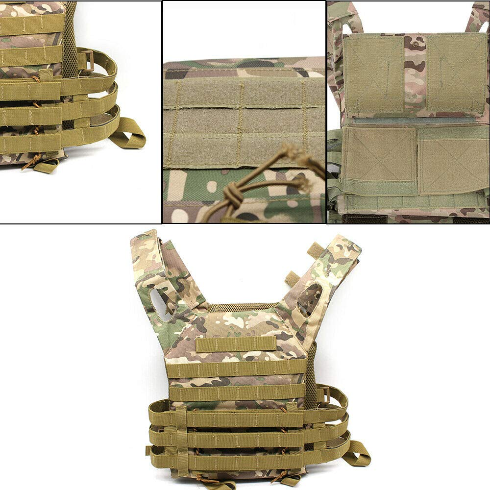MOMOJA Gilet Tactique Gilet Airsoft Nylon Gilet R/églable Formation Arm/ée Gilet Tactique pour Adultes Unisexe