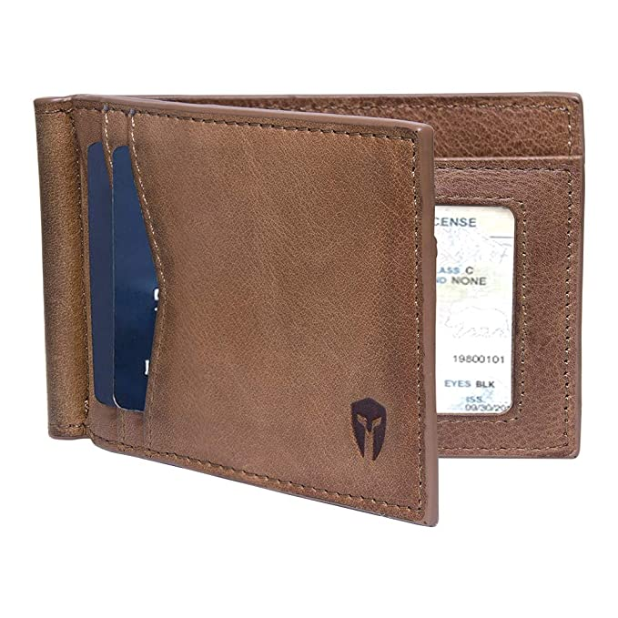 e1f5659bdb34 RFID Blocking Slim Minimalist Front Pocket Wallet, Money Clip, 9 Slots,  Leather