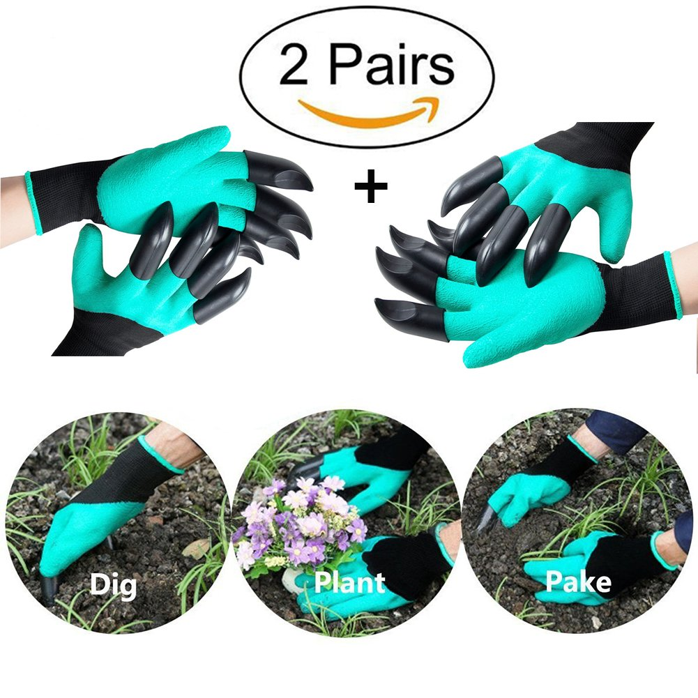 Garden Gloves,2 Pairs Thorn-proof Garden Genie Gloves for Digging And Roses Cactus Planting Nursery, Garden gloves with claw fingers (Claws on Both Hands)