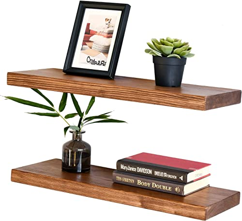 WELLAND Allen 8 Deep Floating Shelves Set of 2 Reclaimed Wood Wall Shelf Rustic Pine Wall Mount Shelf Set of 2, 24 inch