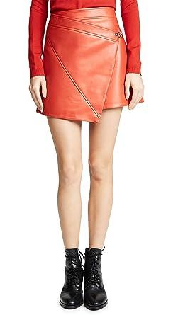 1f2aa7e258 [BLANKNYC] Blank Denim Women's Asymmetrical Vegan Leather Skirt, Safe Word,  Red,