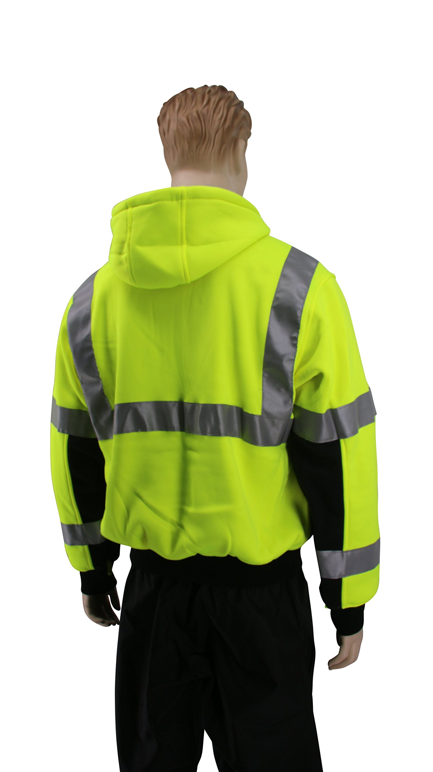 Brite Safety Style 5010 Hi Viz Sweatshirts for Men or Women   Safety Hi Vis Hoodie, 2-Tone Sweatshirt   Thermal Liner, Full Zip 16oz, with 3M Reflective Tape   ANSI 107 Class 3 (4XL) by Brite Safety (Image #2)