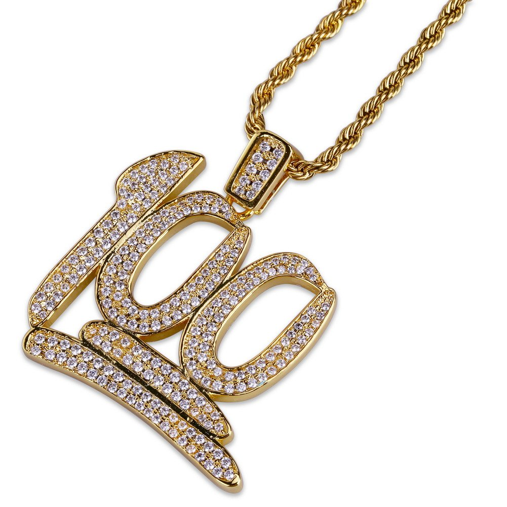 JINAO Hip Hop Iced Out 18K Gold Plated Emoji 100 Pendant Necklace with 24'' Stainless Steel Chain by JINAO