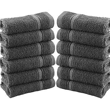 Juego de 12 toallas para la cara de gamuza 100 % algodón de 550 g/m², algodón, Gris, 12 Pieces Set: Amazon.es: Hogar