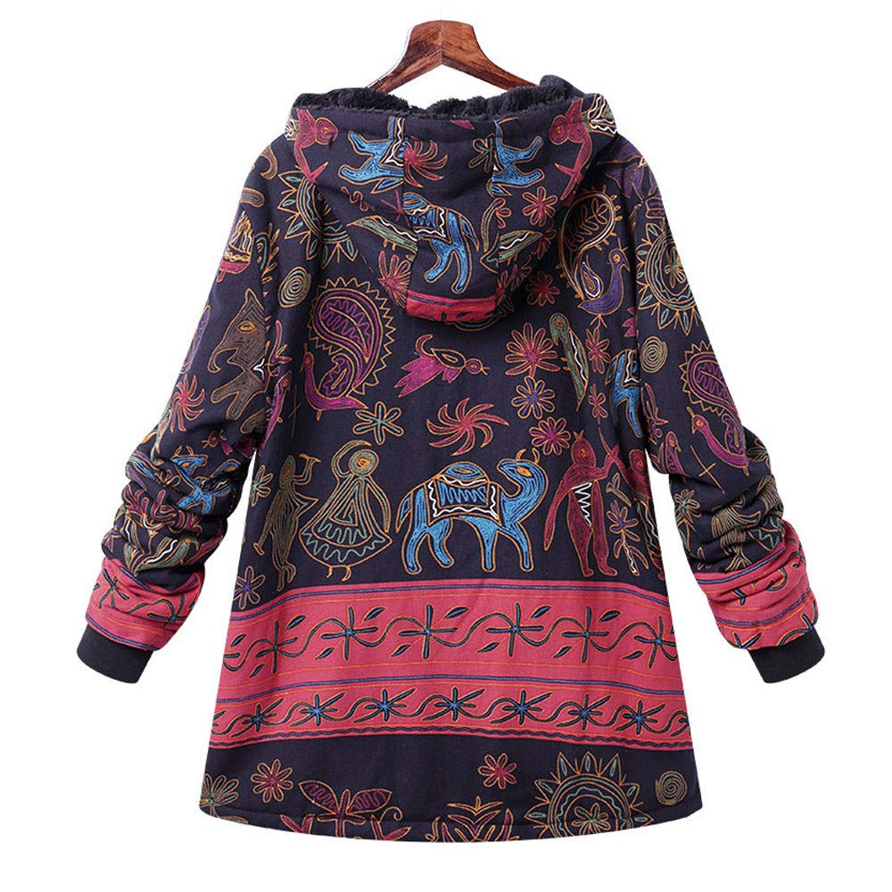 Amiley Women Winter Warm Outwear Thicken Vintage Coat Printed Faux Fur Lined Parka Button Jacket Oversize Coats