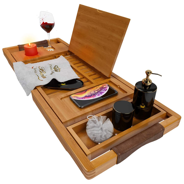 Your Majesty Bath Caddy Bathtub Caddy Bath Shelf Bathtub Accessories Bath Rack Bathtub Tray Bath Table Bath Tub Tray Wood Caddy (Wooden Frame)