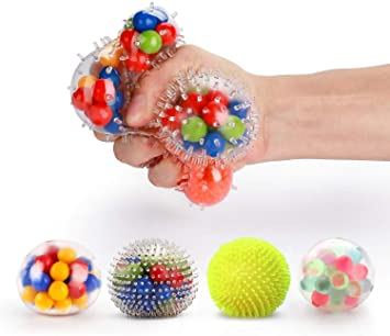 Fansteck Bola Antiestrés [4 Pack], Stress Ball de Diferentes ...