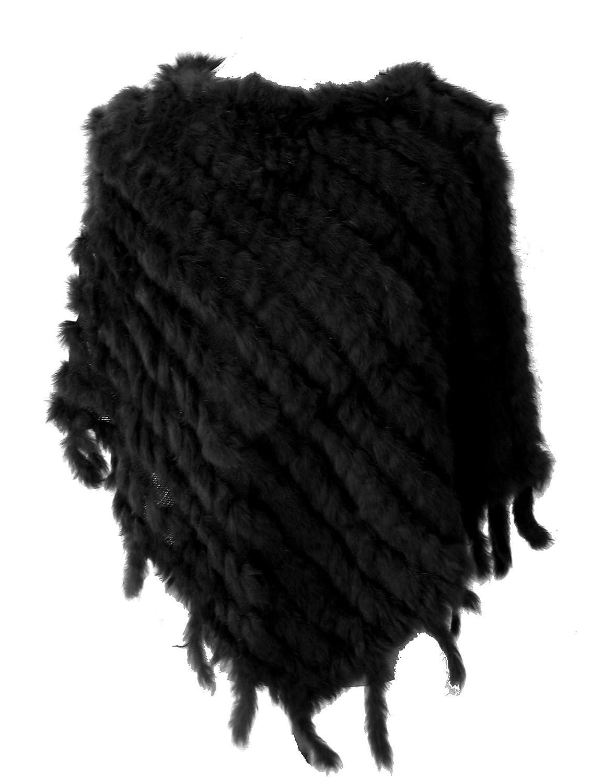 Poncho Pull En Fourrure De Lapin D elevage Noir Tisse Neuf Tu  Vêtements  ab4a389f6d7