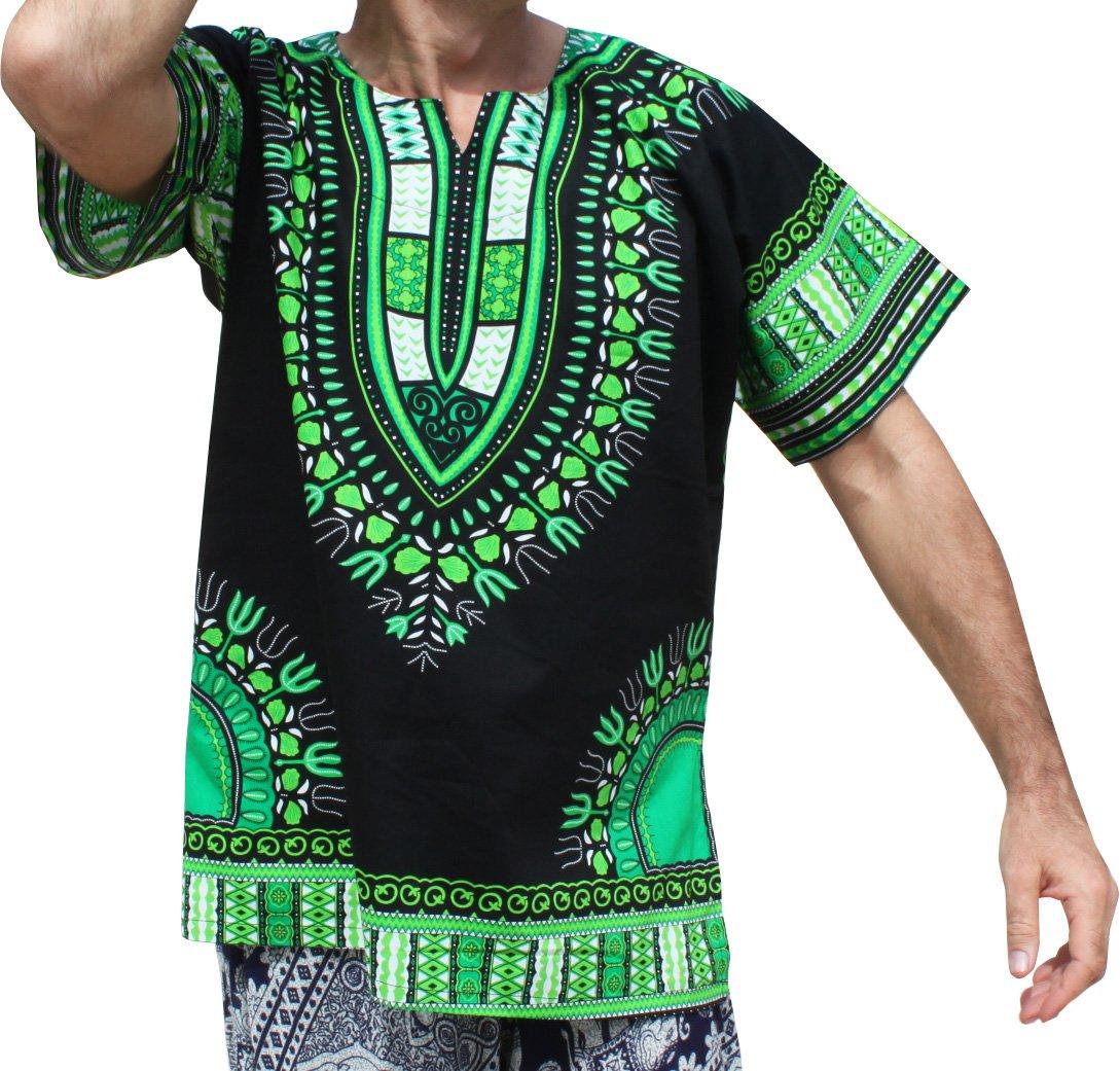 RaanPahMuang Brand Unisex Bright Black Cotton Africa Dashiki Shirt Plain Front, Small, Black with Green