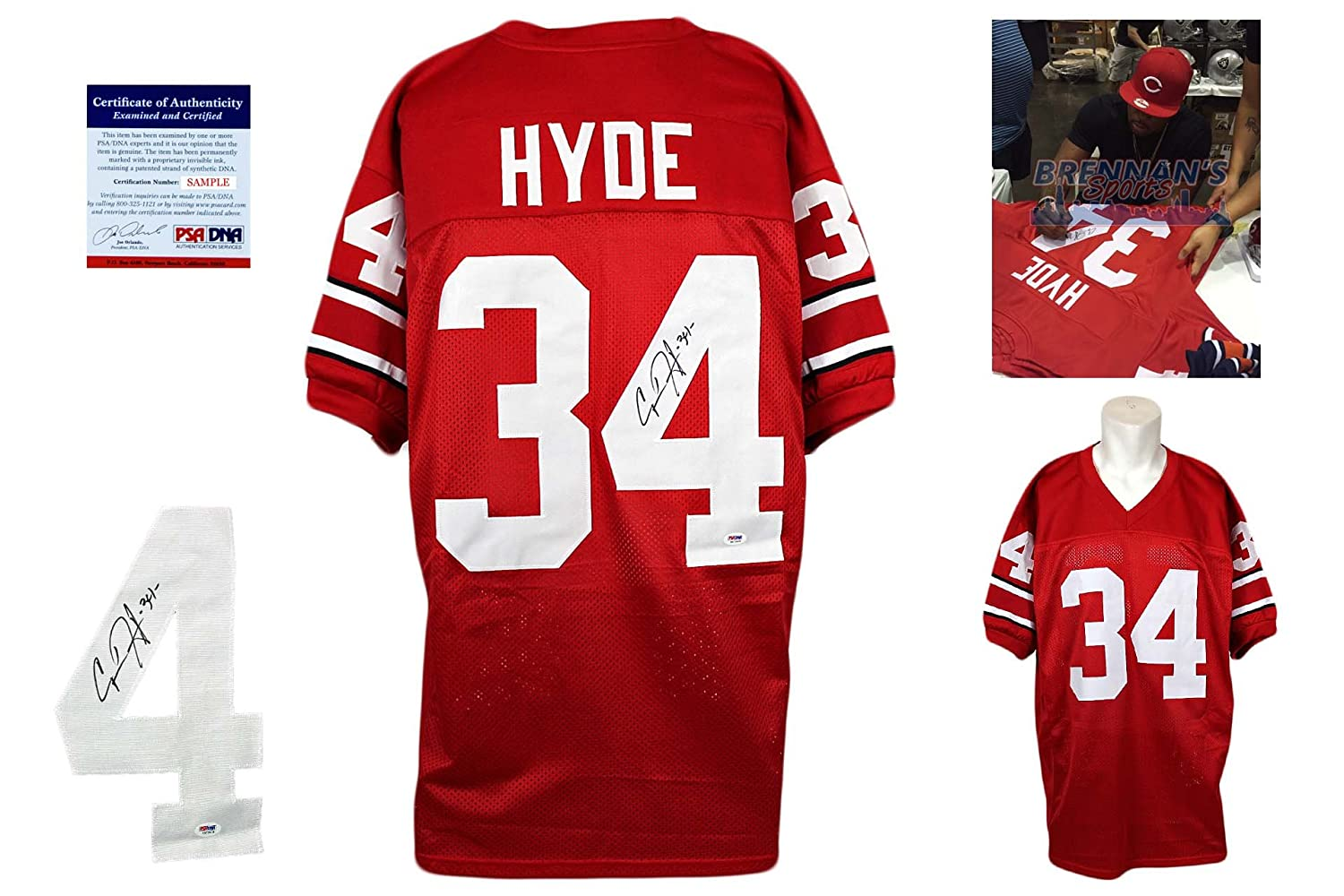 new concept 07069 97627 Carlos Hyde Signed Custom Jersey - PSA/DNA - Autographed w ...