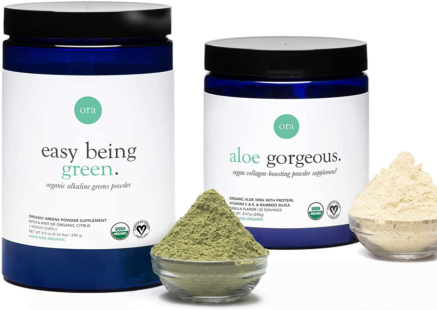 Ora Organic Greens Powder & Collagen-Boosting Powder Bundle - Provides 20+ Superfoods While Supporting Hair, Skin, Nails with All Vegan Ingredients