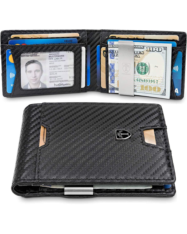 TRAVANDO Slim Wallet with Money Clip RFID Blocking Wallet AUSTIN Credit Card Holder | Travel Wallet | Minimalist Mini Wallet Bifold for Men Mens Mans Gift Box by TRAVANDO