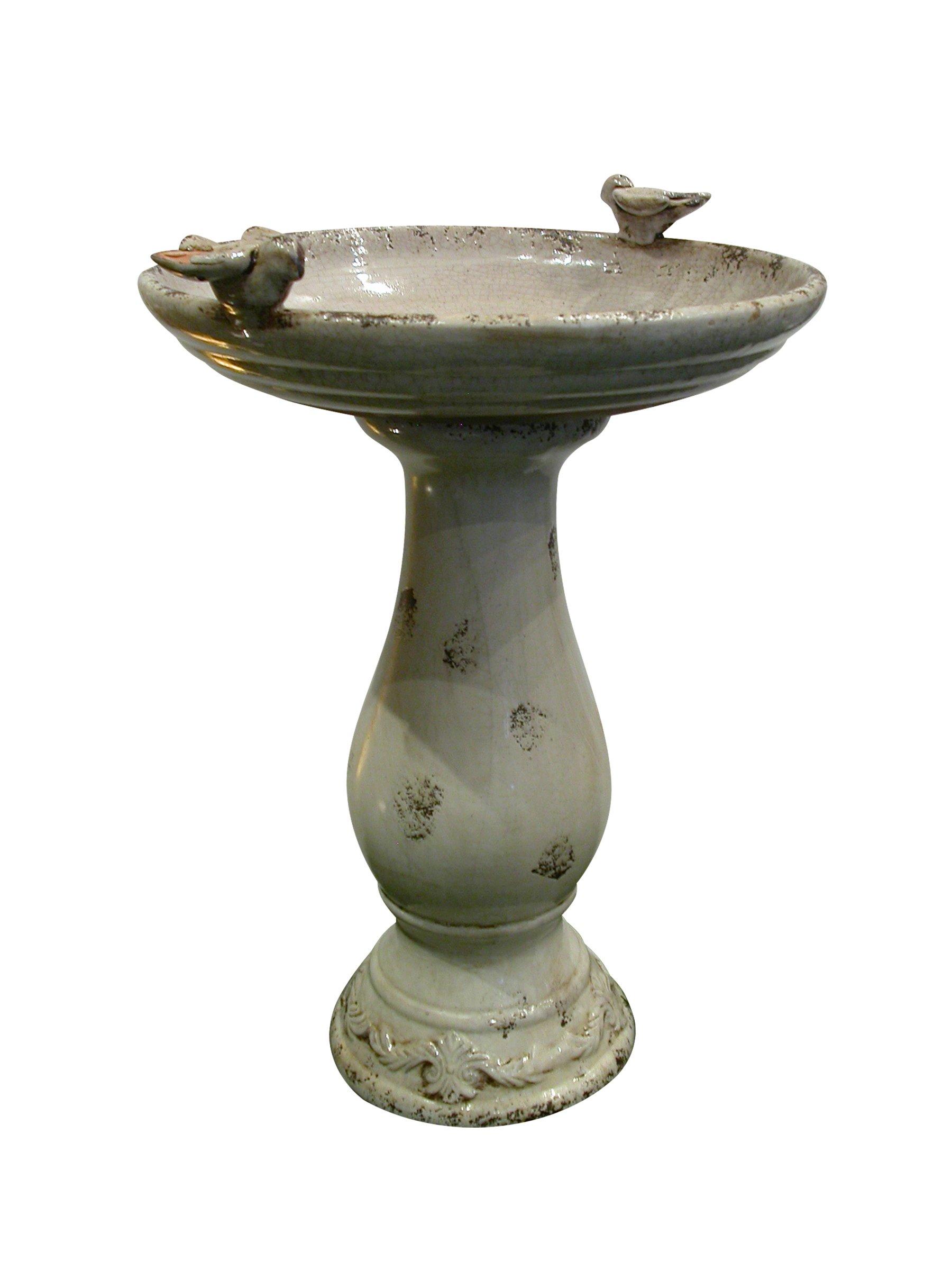 Benzara Antique Ceramic Bird Bath with 2 Birds, Light Brown